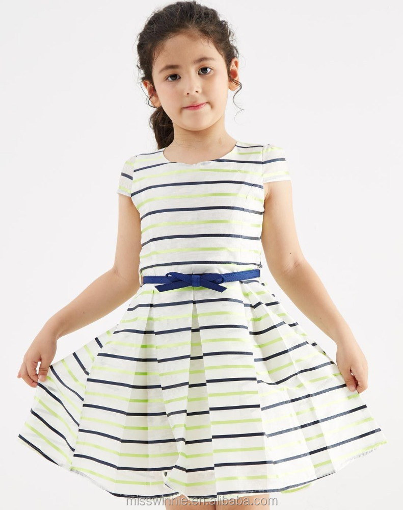 kids dresses beautiful model stripes dresses for girls of 10 years old