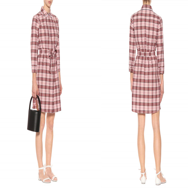 Hot sale new fashion spring woman tie front long sleeve turndown collar pink printed check dress