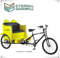 26 inch pedal cargo pedicab/rickshaw passenger tricycle/rickshaw passager tricycle/TC8002 tandem tricycle for adults