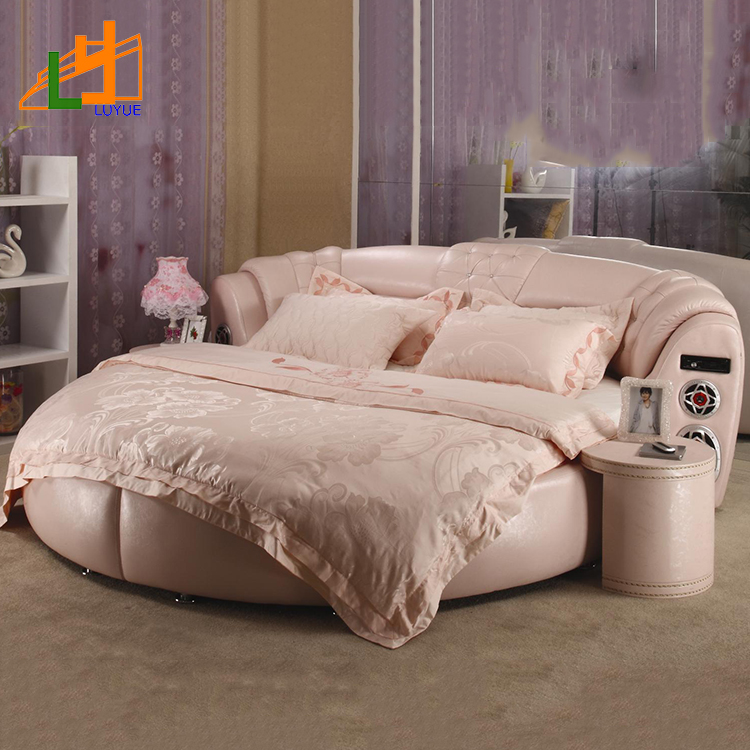 luxury European design bedroom furniture modern round elegant leather bed