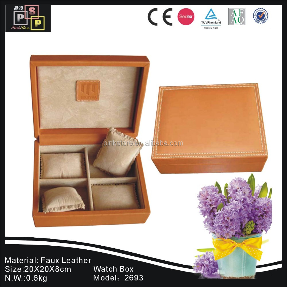 Custom logo luxury handmade Core Material wooden Cover Material leather 2x2 slots packaging watch box
