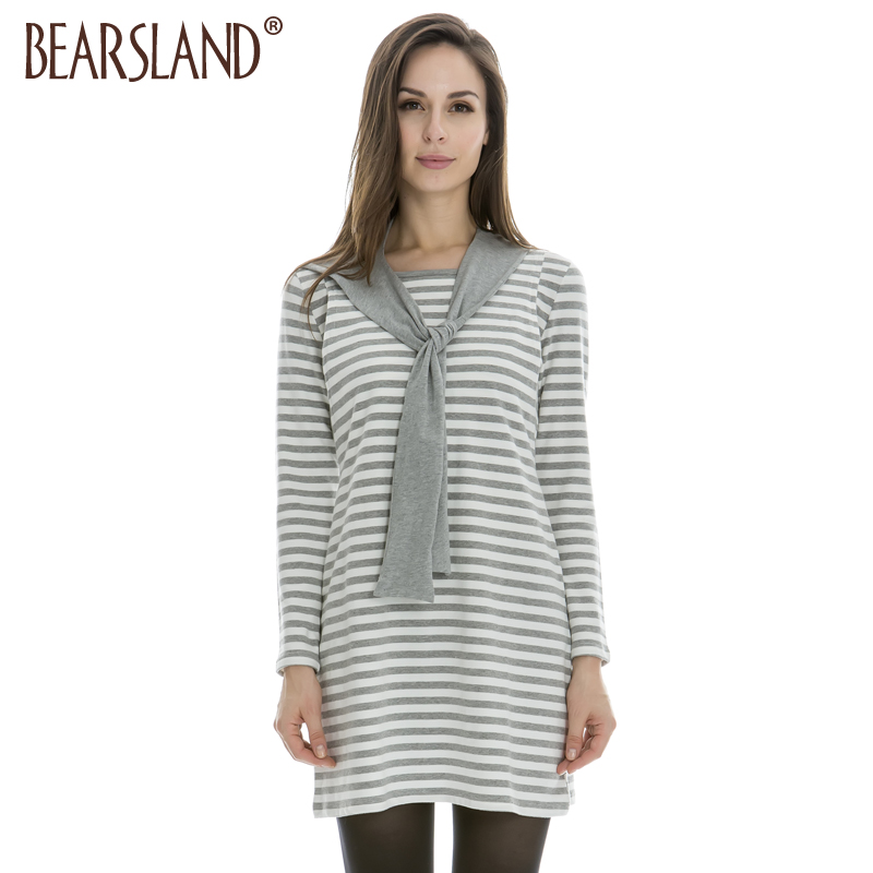 Discount Long Sleeve Striped Autumn and winter Maternity Breastfeeding Dress Clothes for pregnant Women BA424