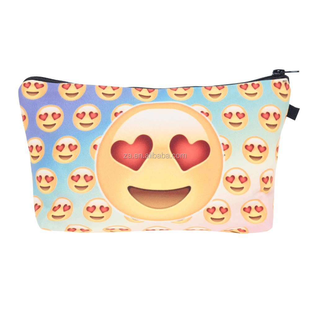 Zohra New Design 3D Print Custom Portable Emoji Cosmetic Bag for Ladies