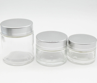 Cosmetic container glass jars 30ml 50ml 80ml, round glass cosmetic jars