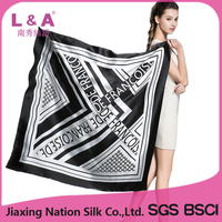 2017 lady silk satin square scarf