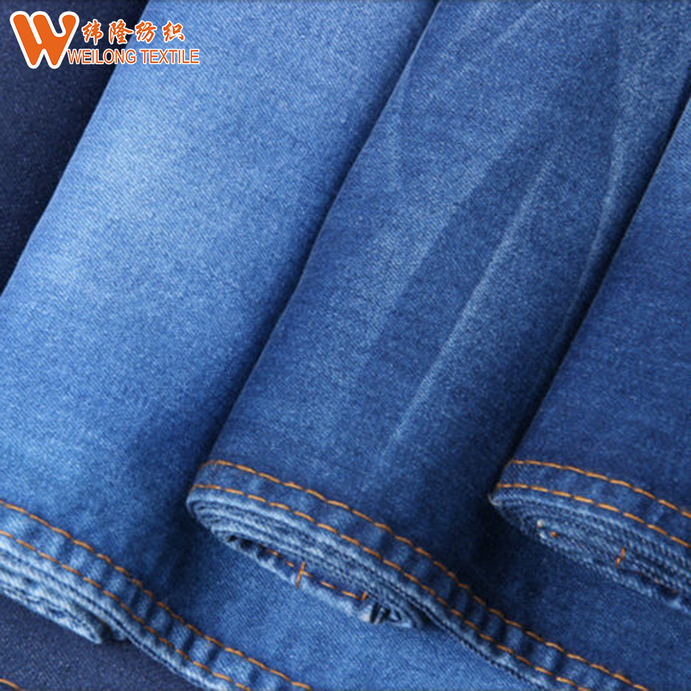 2018 hot sale 98% cotton 2% spandex printed organic denim fabric for wholesale