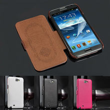 luxury genuine real leather flip wallet case for samsung galaxy note 2 N7100