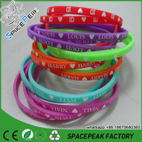Colorful Silicone rubber wristband,printing beautiful silicone band cheap thin silicone bracelet