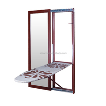 commercial mirrored wall mounted folding ironing board with cabinet