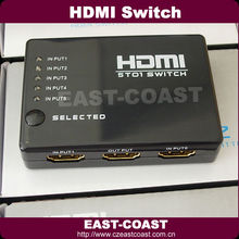 5 Port 1080P Video HDMI Switch Splitter for HDTV PS3 DVD with IR Remote