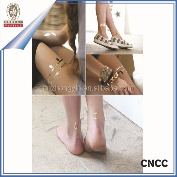 2015 New Hot sale Colorful Gold And Silver Metallic Temporary Tattoo Sticker