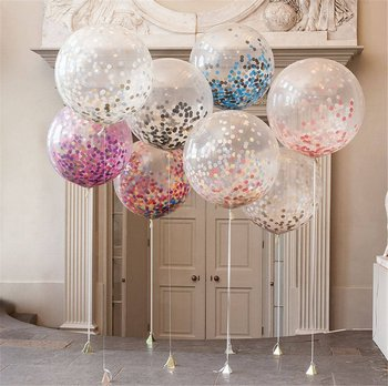 36 Inch Hot Sale Latex Transparent Balloon with 15 Gram Confetti in Separate Package for Party Decoration