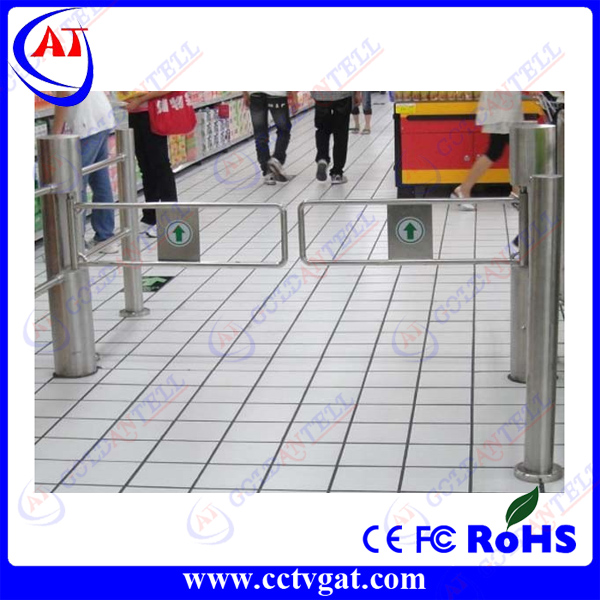 Stainless steel security barrier supermarket entrance access control turnstile manual swing gate with smart card door