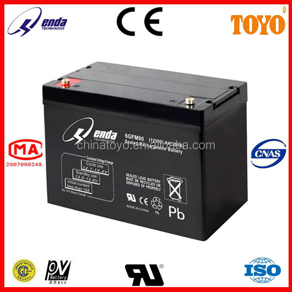 12V90AH lead acid battery 12 volt deep cycle battery made in china