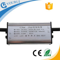 Hot selling wholesale 21-35V led driver 20w 600mA PF0.9 waterproof led driver and power supply with CCC CE certification
