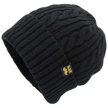 Alibaba Custom Color Cheap Leather Patch Merino Wool Beanie Pom Knitted Winter Beanie Hats