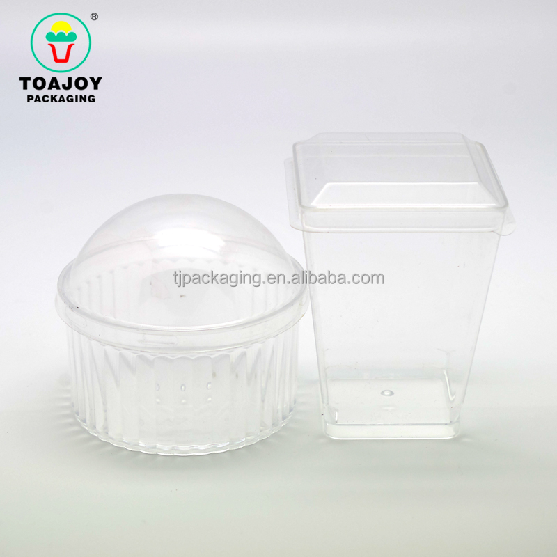 Non- toxic plastic Mousse Cups Jelly Pudding model tool with lid, cake decorating containers