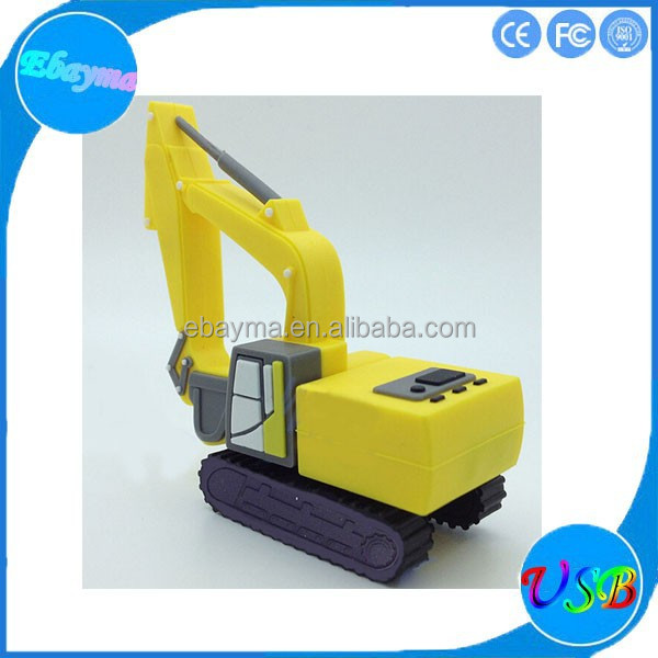 Customized excavator shape 1 gig usb pen drive pvc usb flash drive test