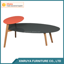 Coloful oval shape coffee table wood leg center table