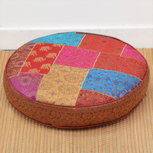 Brocade Patch Work Round Floor Cushion with Filling 60cm dia