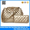Best selling high quality new design large capacity girls long strap PU women shoulder bag set cross body bag with purse