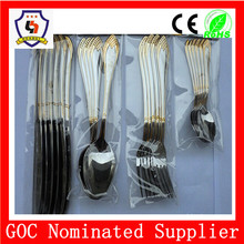 5% OFF wholesale5 star hotel blackgold plated handle polished Flatware/dinnerware set / tableware sets 4 pcs Sets (HH-spoon-191)