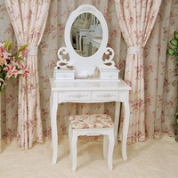 White Vanity Set Make Up Table Mirror / white dressing table bedroom furniture