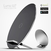 2015 NEW Luna W7 Qi Wireless 3 Coil Charging Mat Stand Alloy Aluminium Design USB Charger Wireless Charge Pad