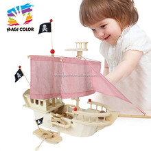 2017 wholesale kids diy wooden pirate toys funny children wooden pirate toys best design wooden pirate toys W03B056