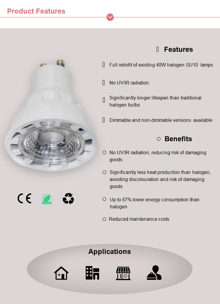 3W 5W 7W 9W gu10 led spot light ceiling, high quality cob led 5w spot light , high lumen 500lm cob led 5w spot light gu10