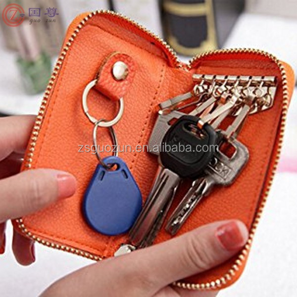PU Leather Car Keychain Key Holder Bag Cover /Six Key Hook Zipper Case with Card Holder