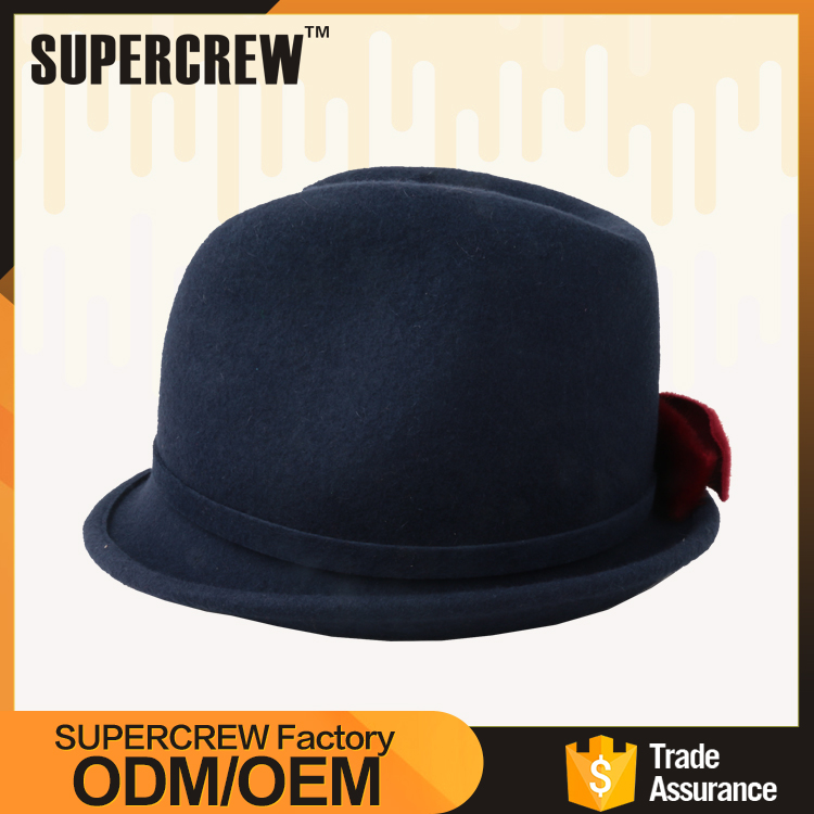 Large In Stock 100% Wool Felt Black Mens Fedora Hats