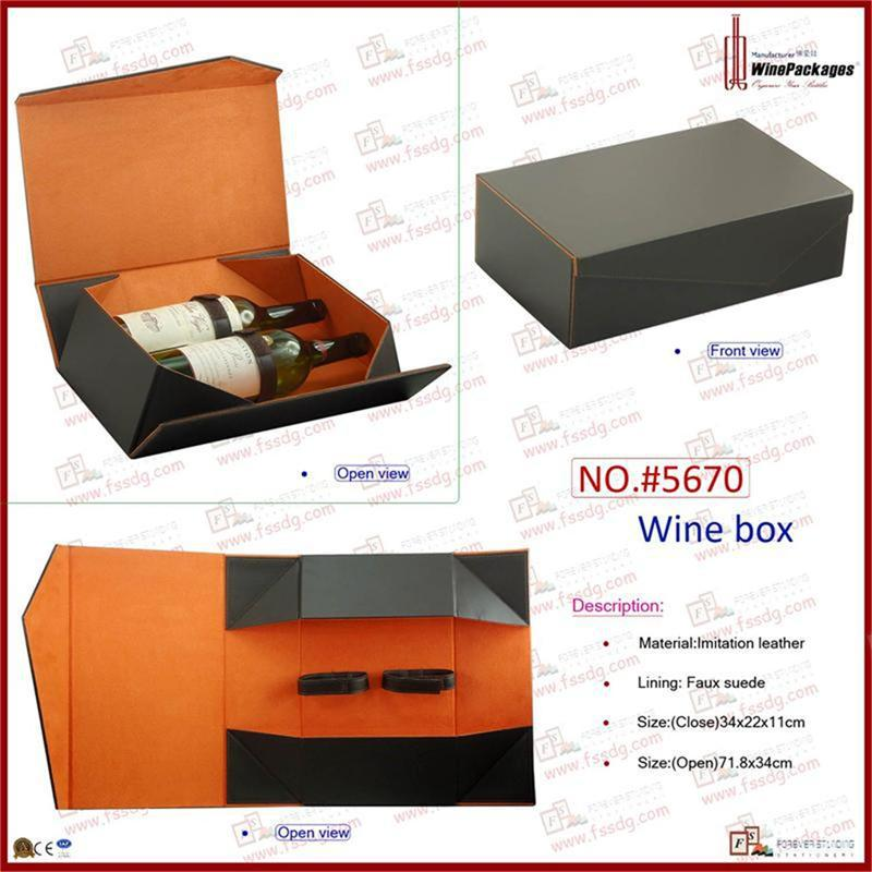 pu leather custom folding two bottles wine packaging box