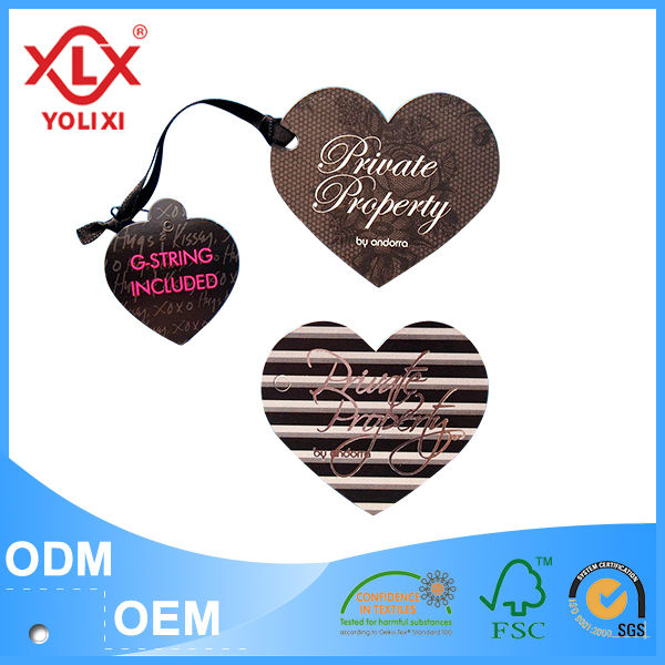 Plastic string hangtag for garment