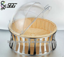 Food Safe Round Plastic Basket for Bread,Food Grade Handicraft Bread Basket,Round Storage Basket for Food