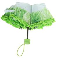 New design lettuce 3 fold 23 inch 8 ribs manual open vegetable umbrella plastic handle