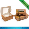 Simple style custom made kraft paper food packaging box with window for salad, sandwich, fast food packaging