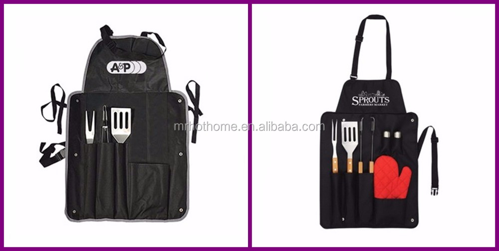 stainless steel and wood BBQ TOOL SET with kitchen apron