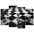 HD Chess Picture Printed on Canvas Black and White Canvas Prints Giclee Print for Living Room Office Decoration 4 Panels