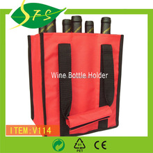 Wholesale heavy-duty reusable fashion 6 bottle 600D polyester red wine bag