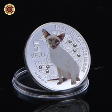 WR Mother Day Gift Metal Animal Coin Silver Plated Persian Cat Model Coins with Free Clear Plastic Case