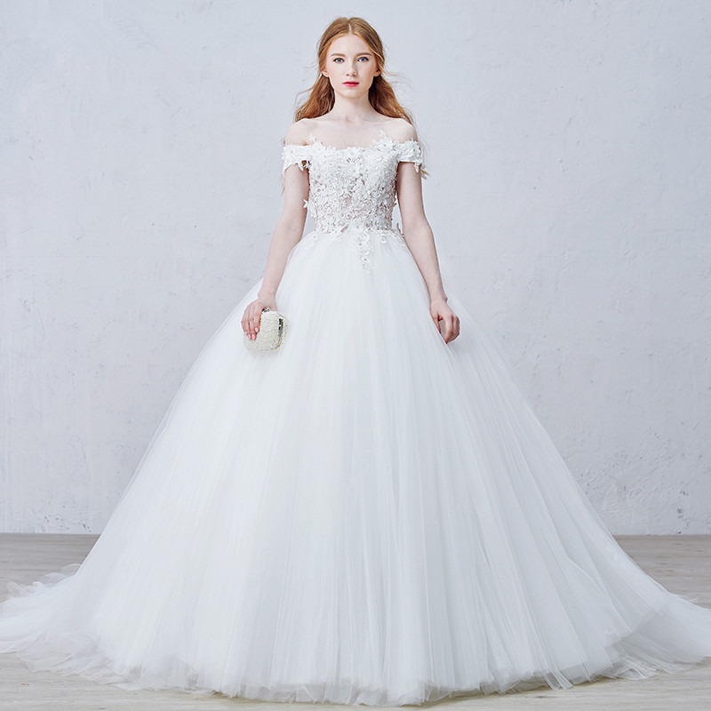LY25 Gorgeous Sheer Ball Gown Wedding Dresses 2016 Puffy Lace Beaded Applique White Long Sleeve Wedding Gowns robe de mariage