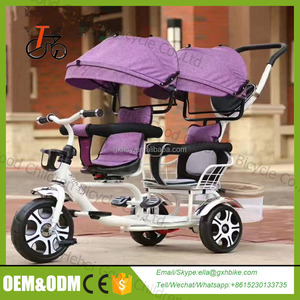 EN71 cheap 2 seats children tricycle rubber wheels /mother baby tricycle / kids tricycle with trailer