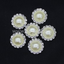 2017 rhinestone 16mm peal button covers metal wholesale crystal welding rhinestone button for wedding dress party supplies