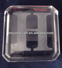 graphic crystal cube paper weight with logo