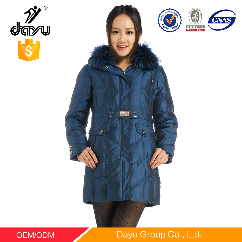 Famous Branded winter coats filled down jacket in garments factory with artificial fur hood jacket