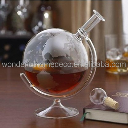 750ml Whiskey Decanter For Spirits Or Wine Decorative Etched Glass Globe Design Spirits Decanter Bottle For Sale