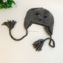 knitted woolen caps Winter Lady winter hats with strings