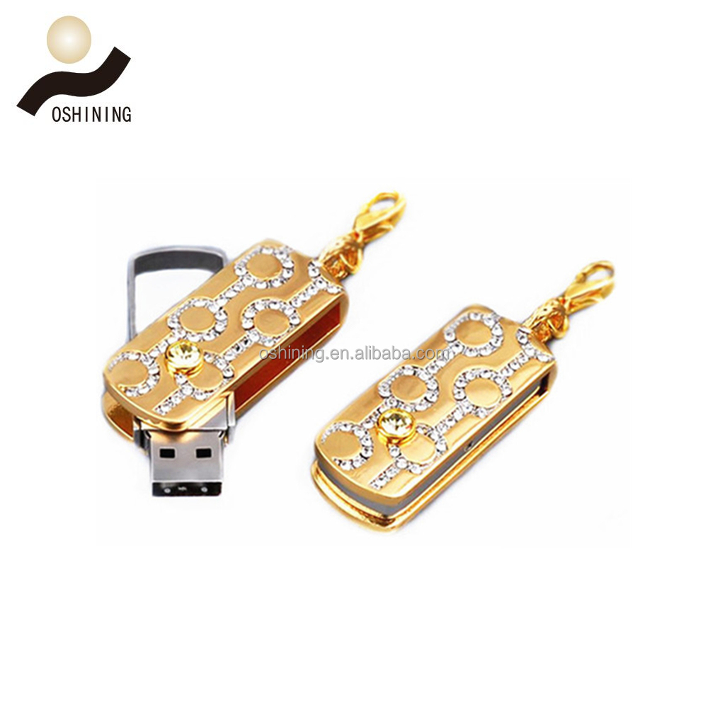 Promotion gift jewelry crystal diamond swivel usb flash drive high quality USB thumb drive (USB-DA315)