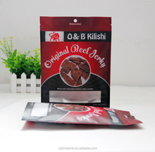 custom size and printing beef jerky packaging aluminum foil self adhesive zipper pouch